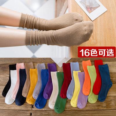 秋冬加厚韩版袜子女三杠条纹复古粗线袜翻边中筒堆堆袜长袜
