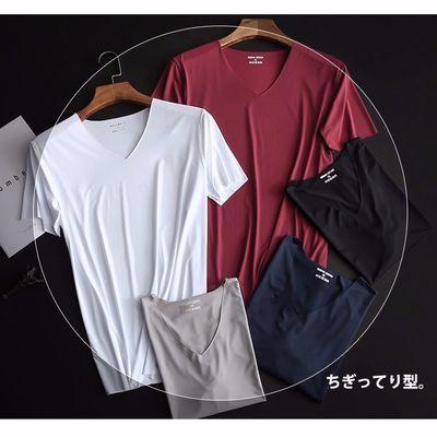 1件/2件夏季男士无痕短袖冰丝t恤男薄款V领青年修身白色t恤健身衣