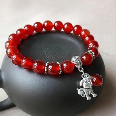 新品红玛瑙十二生肖小树叶本命年手链手串时尚女款送锁骨链吊坠