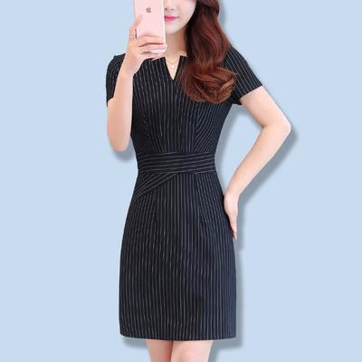 2019女装条纹长袖修身包臀连衣裙职业装OL气质一步裙大码显瘦