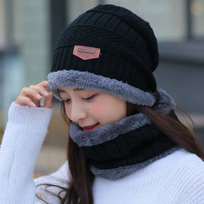 冬天帽男女潮秋冬季男士针织帽加绒加厚毛线帽套头帽脖套套装保暖