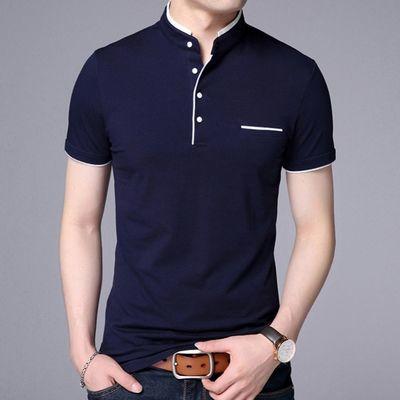 夏季t恤短袖男士polo衫新款商务纯色修身半袖立领T恤男装青年上衣