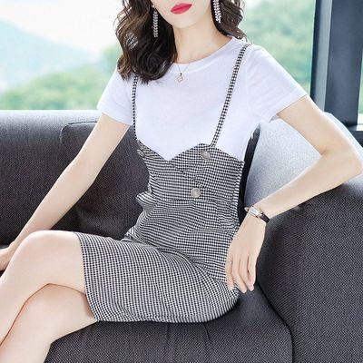套装裙2019夏季新款撞色职业OL气质套装一步裙修身包臀半身裙女