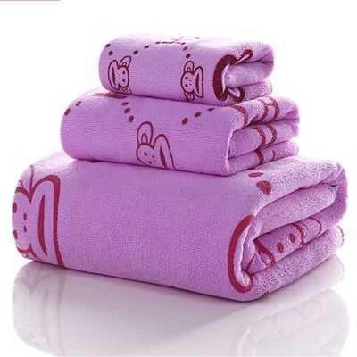 【浴巾+毛巾+方巾】浴巾超细纤维浴巾印花比纯棉还吸水浴巾毛巾