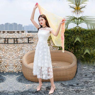 2020最新款裙子女夏显瘦蕾丝连衣裙沙滩裙中长裙气质白色超仙女裙