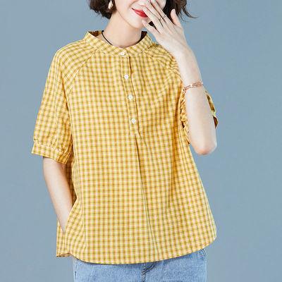 80-170斤大码格子衬衫女短袖夏装2020新款宽松立领衬衣女休闲上衣