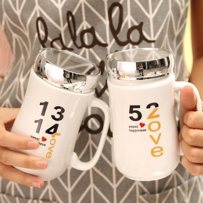 带镜面520骨瓷情侣杯子生日礼物带盖陶瓷马克杯创意大容量茶杯【3月12日发完】