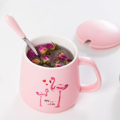 创意潮流韩版陶瓷情侣杯子带盖勺一520马克杯水杯男女生咖啡杯