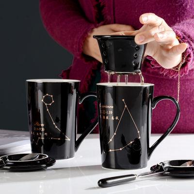 陶瓷马克杯带盖勺简约情侣咖啡杯复古茶杯办公室水杯子定制
