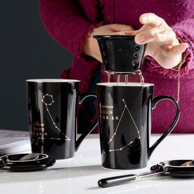 无名器陶瓷情侣水杯子一创意简约咖啡杯马克杯带盖勺结婚礼