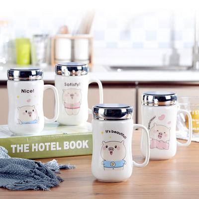 陶瓷水杯马克杯带盖勺男女情侣咖啡杯子牛奶创意早餐超萌水杯