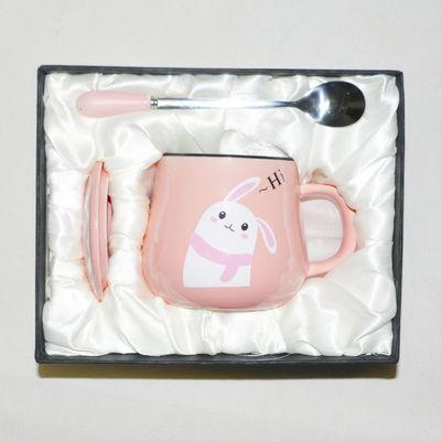创意北欧陶瓷杯子麋鹿马克杯礼盒陶瓷水杯咖啡杯情侣杯带盖勺女