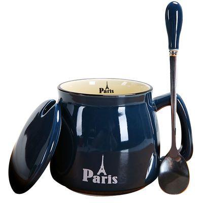 韩版几何陶瓷杯带盖勺简约马克杯咖啡杯男女学生水杯情侣杯子