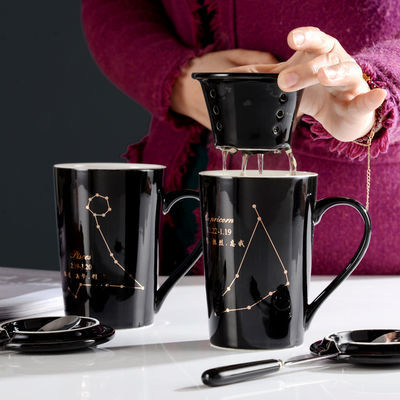 55度恒温杯暖暖杯陶瓷杯子女玻璃牛奶咖啡加热马克杯带盖勺情侣男