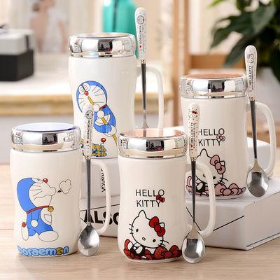 大容量创意马克杯带盖勺玻璃杯子咖啡杯情侣水杯早餐牛奶茶杯