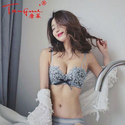 古炫纯色性感内衣女套装小胸罩厚聚拢无钢圈收副乳防下垂文胸bra