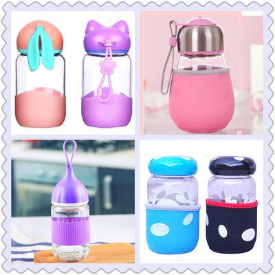 玻璃水杯蘑菇玻璃杯女便携可爱小巧花茶耐热玻璃随手杯少女心水杯