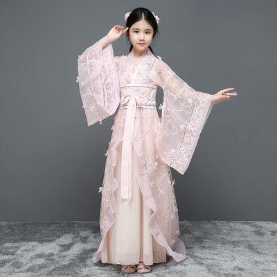 新款儿童汉服女童仙女裙唐装古装贵妃服公主裙演出服拖尾服装襦裙