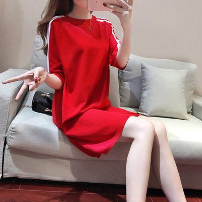 针织衫女套头中长款五分袖宽松薄款红色上衣秋夏季休闲打底连衣裙