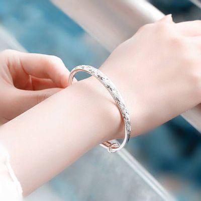 纯银手链女足银磨砂圆珠链子时尚简约白银手镯玫瑰花银手链女