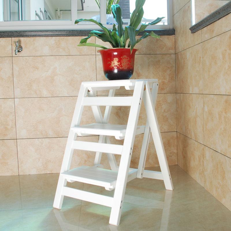 美式两用楼梯椅家用多功能梯子楼梯凳全实木三层加高梯凳室内梯子