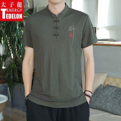 200斤可穿太子龙男士短袖t恤夏季韩版中国风宽松大码立领男士半袖