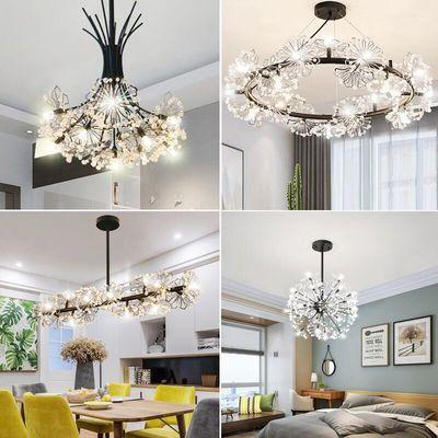 北欧蒲公英吊灯温馨浪漫客餐厅卧室创意店铺装饰led花束水晶灯具