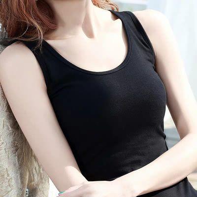 黑色小吊带背心女夏外穿内搭百搭打底衫纯棉紧身工字短款大码白色