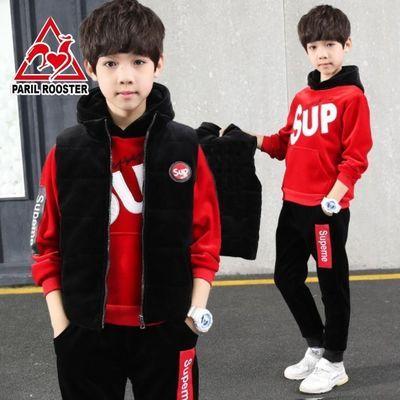 释小龙代言高品质男童儿童绒套装三件套加厚中大童3