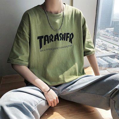 原创男装夏季字母印花短袖男士韩版宽松圆领T恤青少年五分袖潮tee