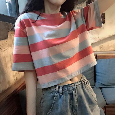 夏季韩版宽松ins短款彩虹条纹短袖T恤女学生学院风bf半袖体恤上衣