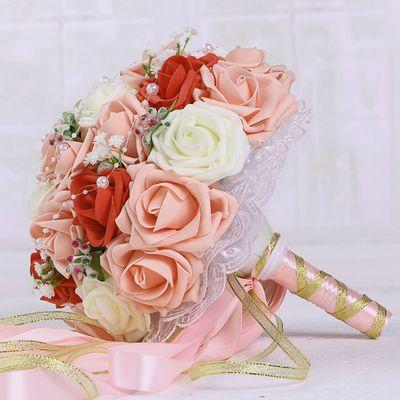 结婚手捧花新娘仿真手捧玫瑰花中式伴娘欧式用品婚礼花束婚庆森系