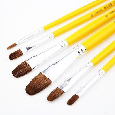 凡高水粉笔圆头狼毫水粉画笔美术水彩笔油画丙烯画笔6支装送笔盒