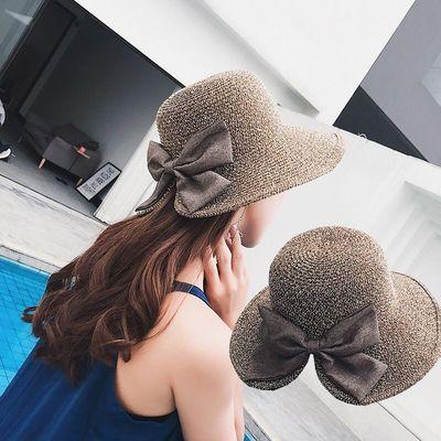 时尚优雅蝴蝶结开叉草帽韩版遮阳帽子女士度假防晒夏天太阳帽凉帽
