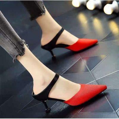 高跟鞋女细跟凉鞋2020新款时尚针织单鞋女学生韩版半拖鞋女一脚蹬