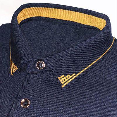 中年男士爸爸装长袖t恤中老年人男装春夏装针织打底衫宽松薄上衣