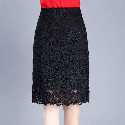 蕾丝半身裙女夏时尚短裙大码春秋季包臀裙A字中长款职业一步裙子
