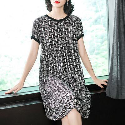 退货包运费2019新款女装宽松显瘦遮肚印花连衣裙夏季中长款裙子潮