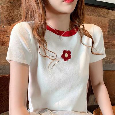 刺绣冰丝t恤女短袖针织衫2020新款夏季修身上衣服韩版学生打底衫