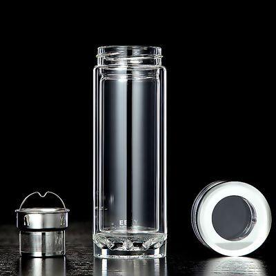 水杯耐高温双层玻璃杯子真空玻璃保温杯男女带盖滤网茶杯刻字