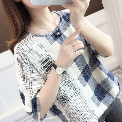 100纯棉大码女装T恤女文艺格子印花夏季半袖条纹宽松2020新款短袖