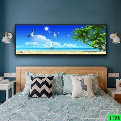 简约卧室布艺贴画现代床头背景横幅长条墙贴浪漫温馨房间装饰画