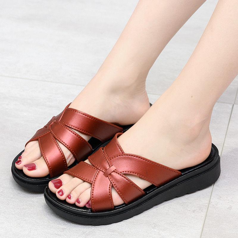 夏季新款妈妈拖鞋女士室内外穿时尚防滑平底塑料厚底软底凉鞋女士