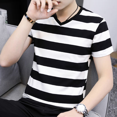 高品质95棉夏季短袖t恤男士潮流V领条纹宽松半袖男生学生简约款