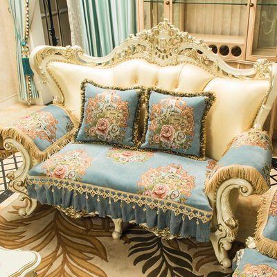 欧式皮沙发垫四季通用沙发垫套高档奢华美式沙发扶手垫防滑扶手巾