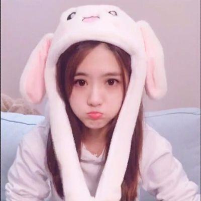 一捏长耳朵会动的帽子兔耳朵可爱小兔子儿童毛绒小玩具帽小白兔