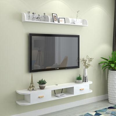 简约现代墙上机顶盒置物架客厅卧室背景壁挂电视柜圆角路由器搁板