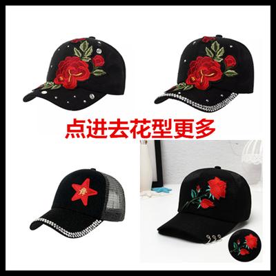 新款水兵舞玫瑰花棒球帽时尚玫瑰花水钻帽子广场舞遮阳防晒鸭舌帽