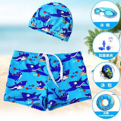 儿童泳裤男童泳衣中大童平角游泳裤泳装泳镜泳帽套装游泳装备