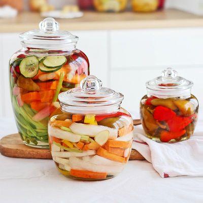 青苹果玻璃密封罐大容量储物罐玻璃瓶蜂蜜瓶杂粮坚果罐泡酒泡菜瓶